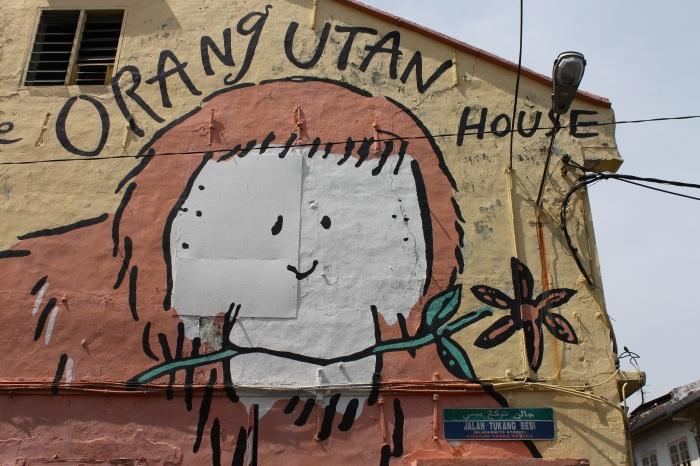 peinture murale de la orang utan house à melaka