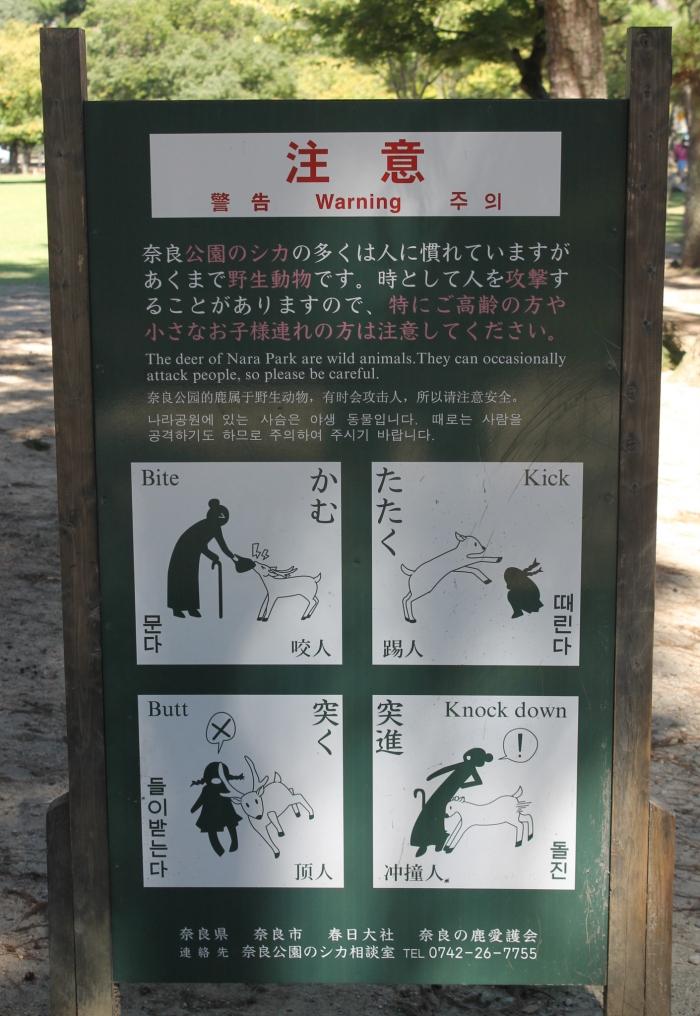 Panneau concernant le comportement avec les biches dans le parc de Nara