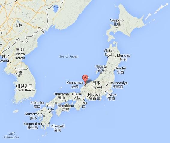 carte du Japon pour situer Kanazawa par rapport aux autres villes