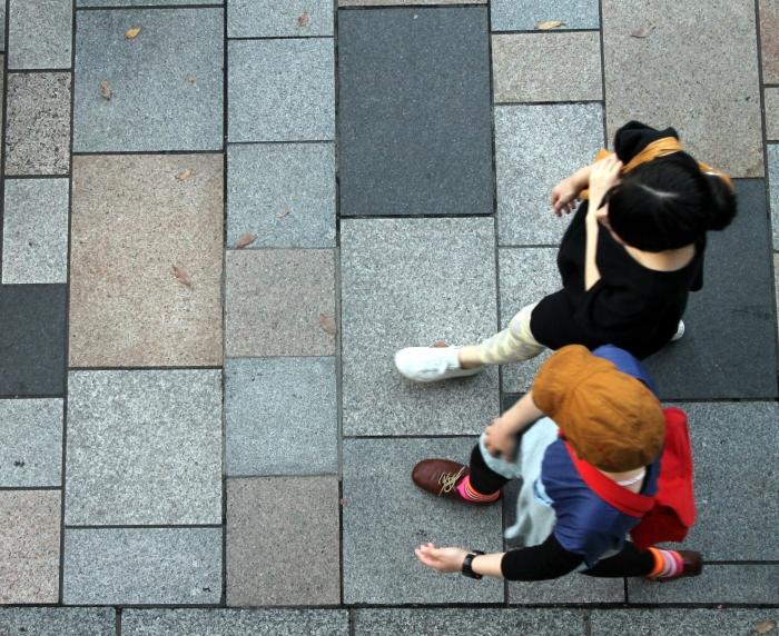 couple marchant dans la rue à Tokyo vue du ciel